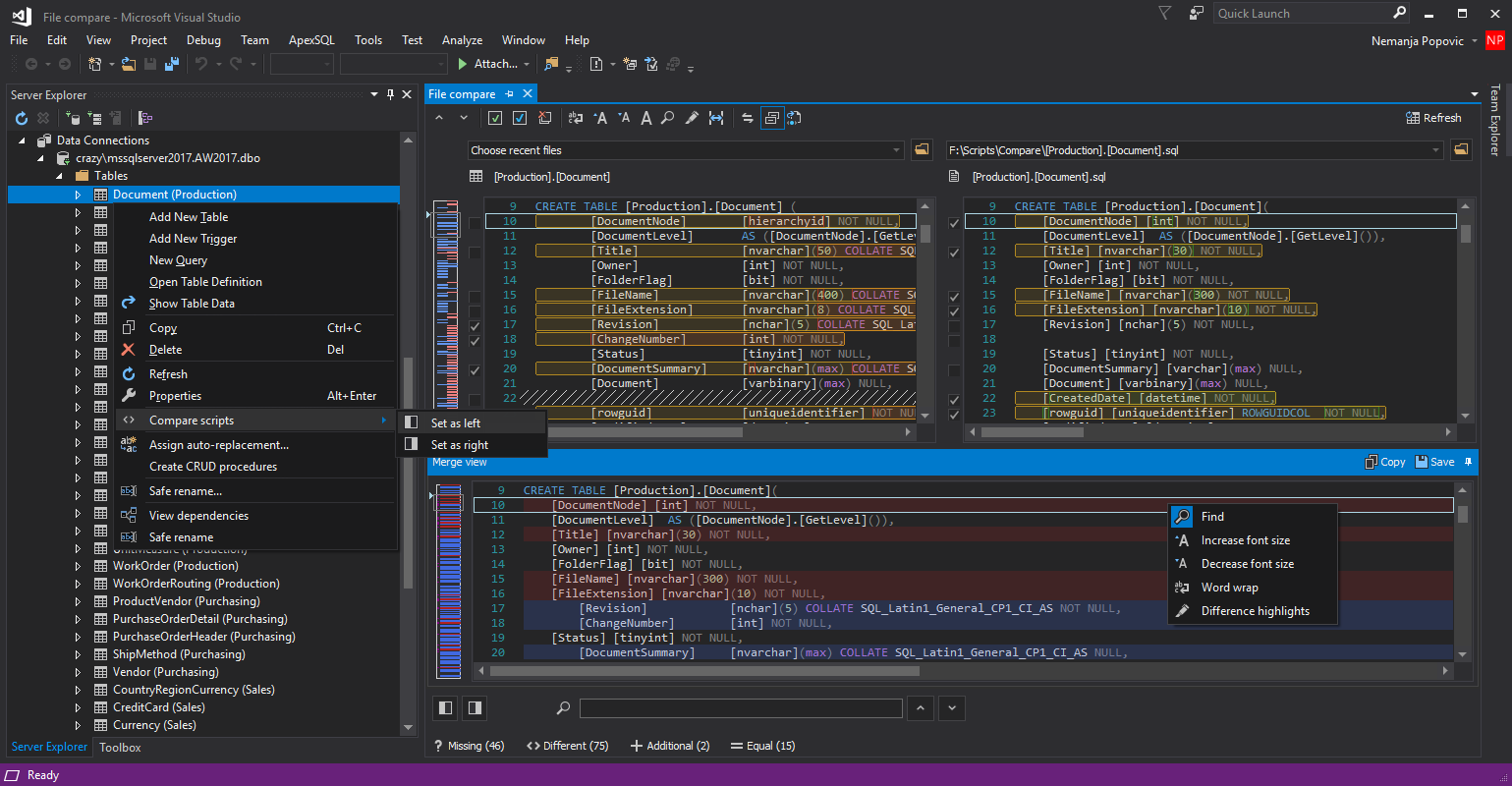 Initiating a SQL code compare directly from Visual Studio