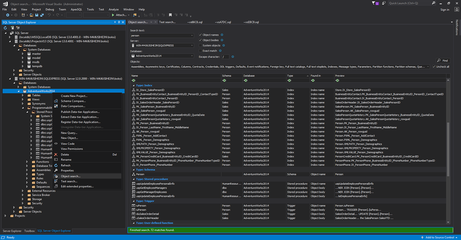Filtering settings for a new SQL search in Visual Studio